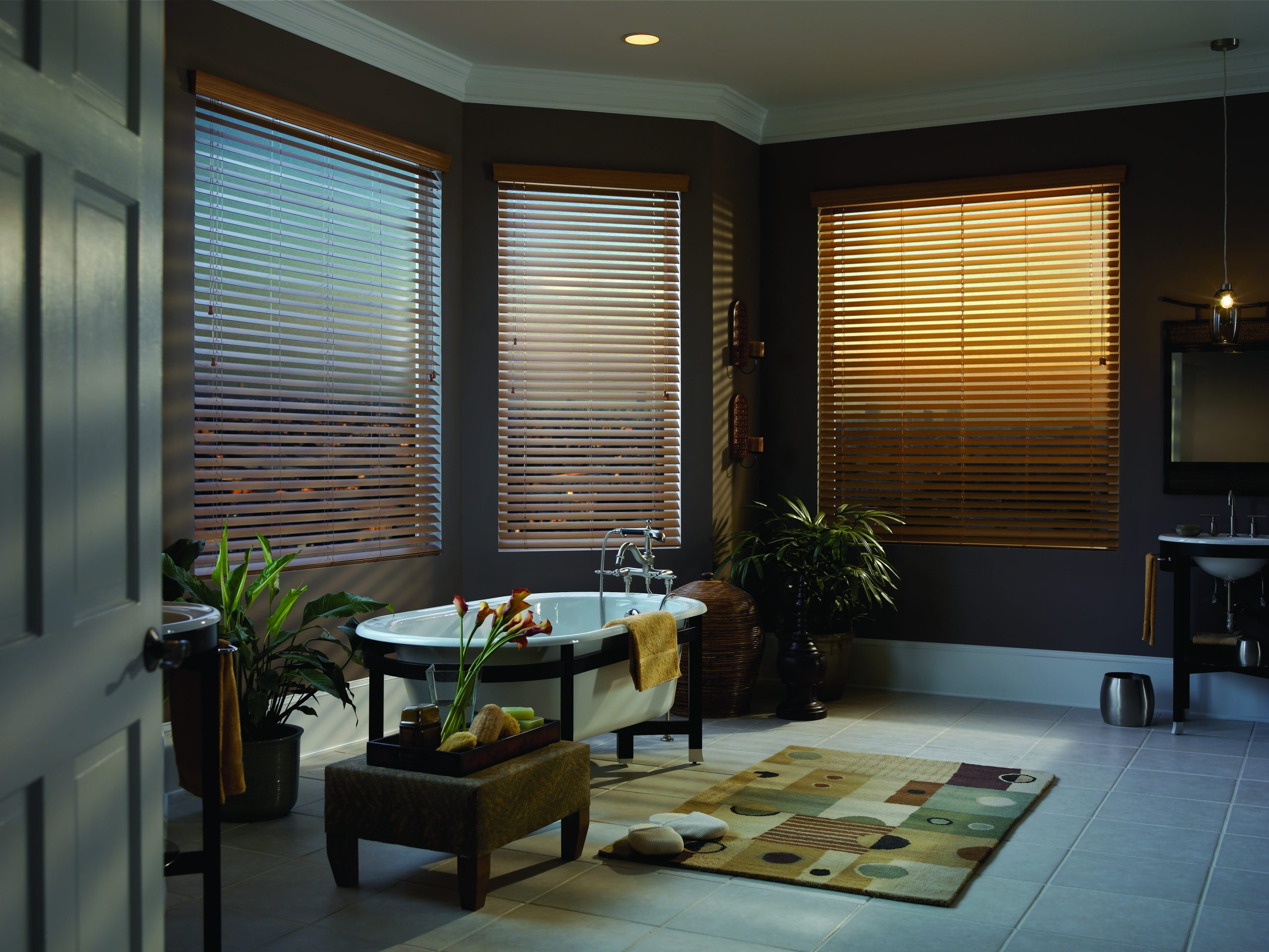 faux wood blinds in family room