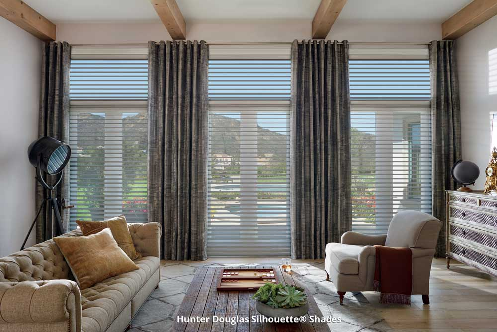 Silhouette window shades in living room