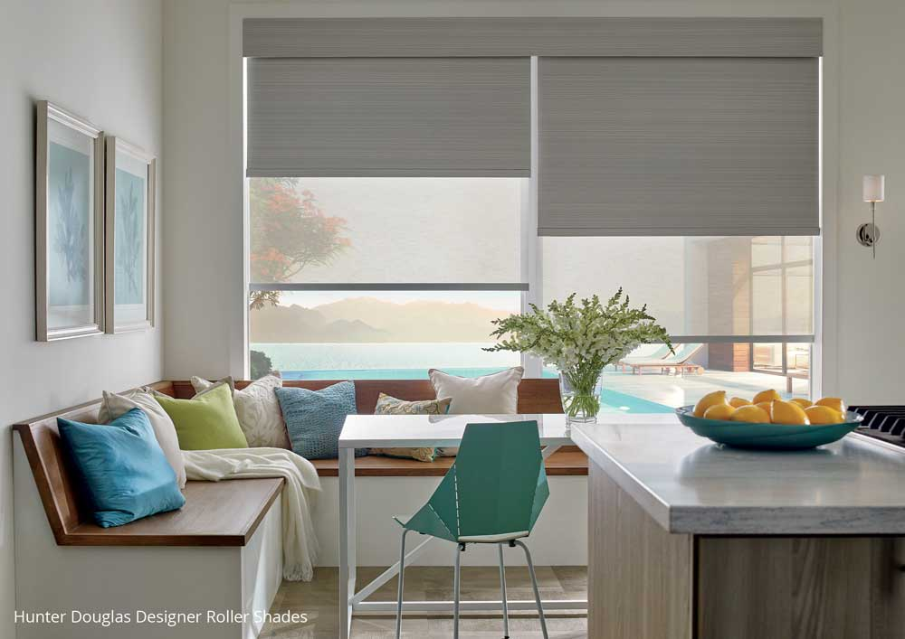 Roller shades in breakfast nook