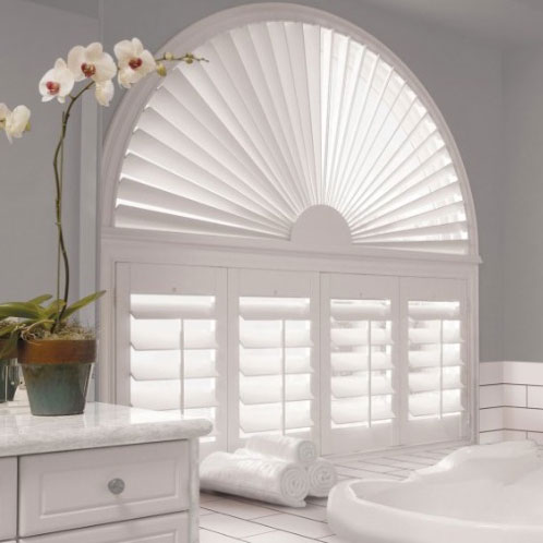 Custom specialty shades in arch window