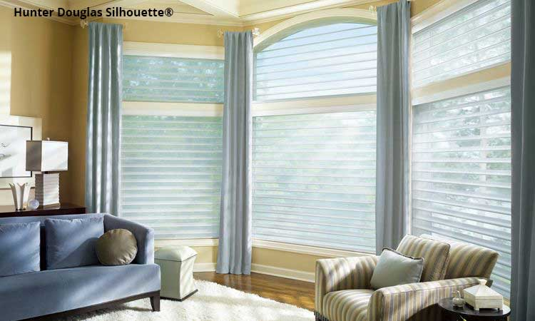 Silhouette window shades in arched window
