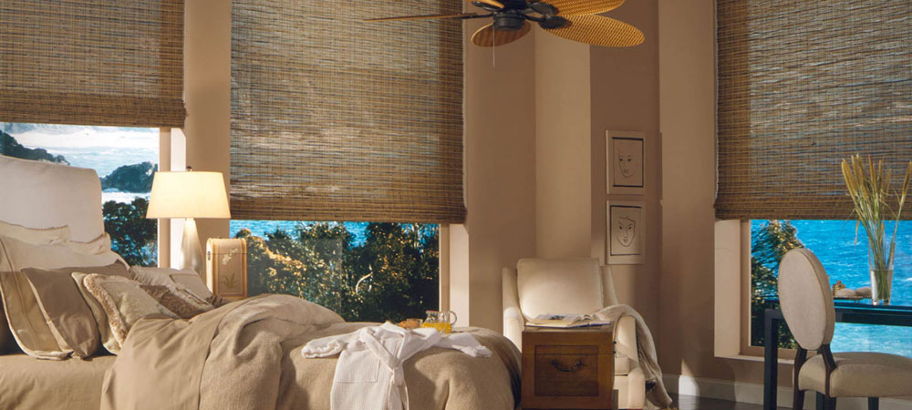 woven wood shades in bedroom