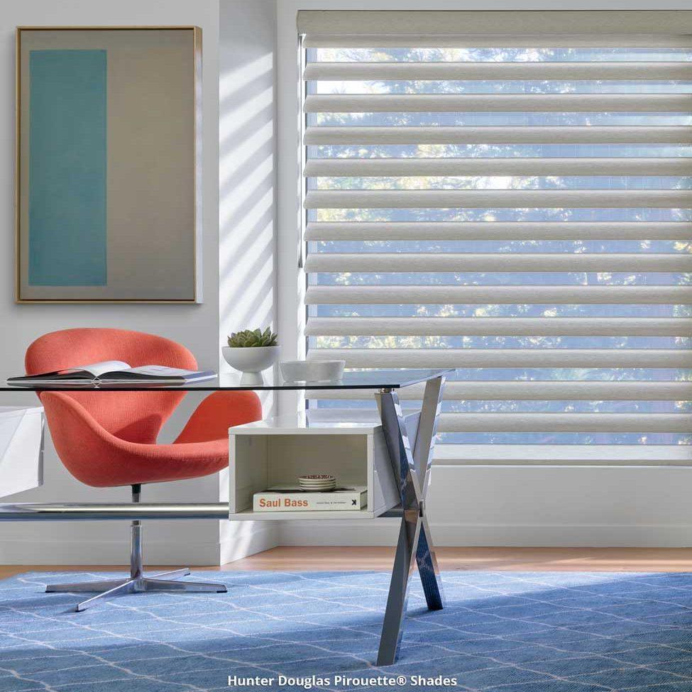 Window shades in modern office