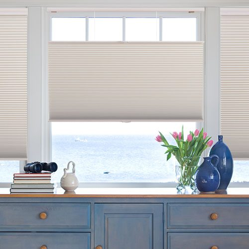 Honeycomb blinds in kitchen