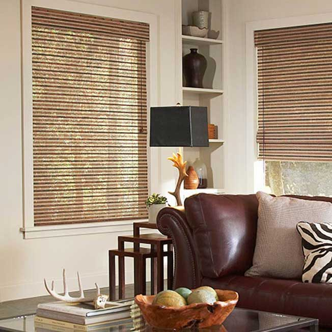 Woven woods blinds in family room